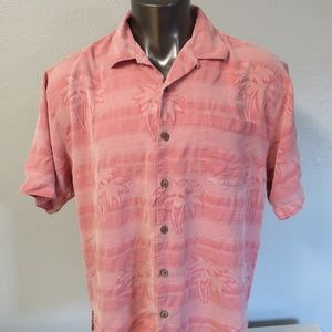 Tommy Bahama Pink Shirt Size L Silk Hawaiian Mens